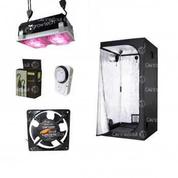 Combo Indoor Carpa 80 + Led 200w + Coolers Timer Poleas